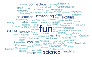 collage of words describing LPS, including fun, science, STEM, interesting, etc